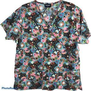 Absolute Floral Scrub Top 1XL Nurse Medical Cotton
